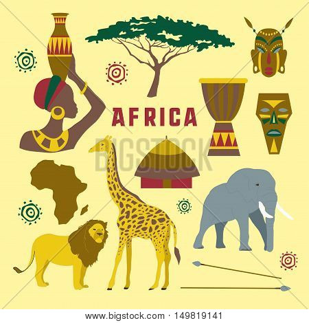 Colorful Africa elements and icons set. Vector illustration, EPS 10