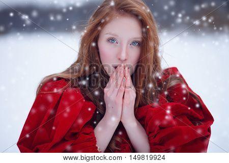 Praying Woman In Winter