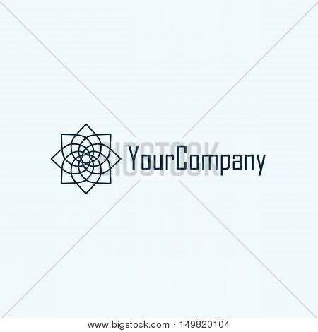 Abstract spiral logo with sample text isolated on blue background