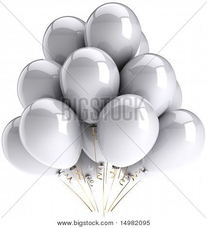 White balloons holiday decoration