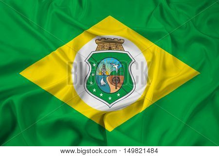 Waving Flag of Ceara State Brazil, with beautiful satin background. 3D illustration