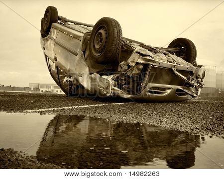 Car Turned Upside-down, Sepia