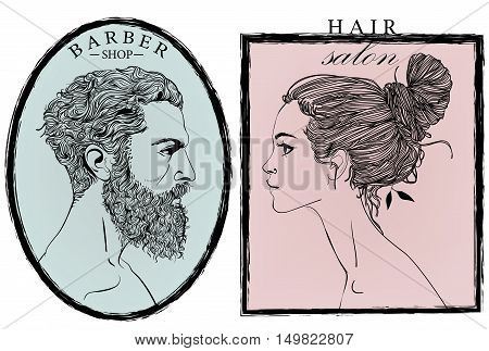 Portraits of fashion woman and men. Vector illustration.