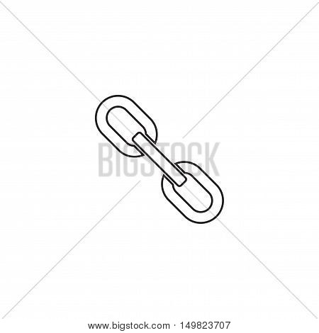 Outline silhouette of chain link isolated on white background