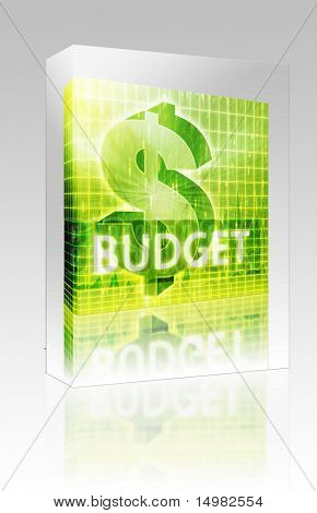 Software package box Software package box Budget Finance illustration, dollar symbol over financial design