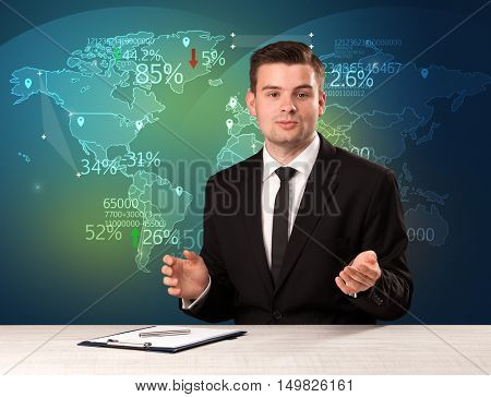 Trade market analyst is studio reporting world trading news with map concept on background