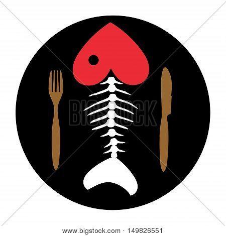 Love to fish. Fish skeleton. Fish bone on chalkboard with Cutlery .Vector illustration.