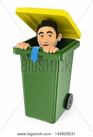 3d business people illustration. Businessman hiding in a trash bin. Isolated white background.