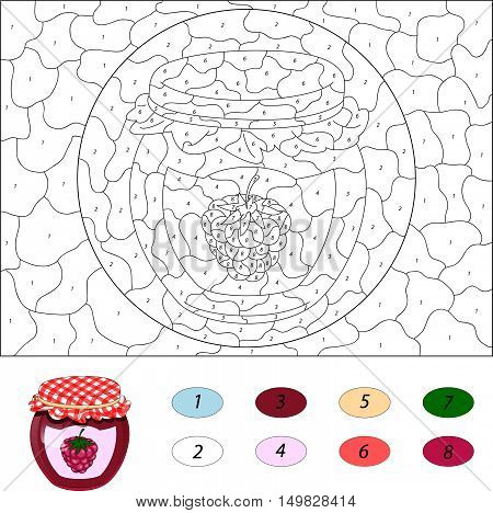 Bank Of Raspberry Jam. Color By Number Educational Game For Kids