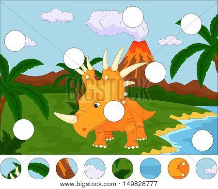 Funny Cute Styracosaurus On The Background Of A Prehistoric Nature. Complete The Puzzle And Find The