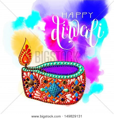 original greeting card to deepavali festival with diya jewels painting and hand lettering inscription happy diwali on watercolor background, calligraphy vector illustration