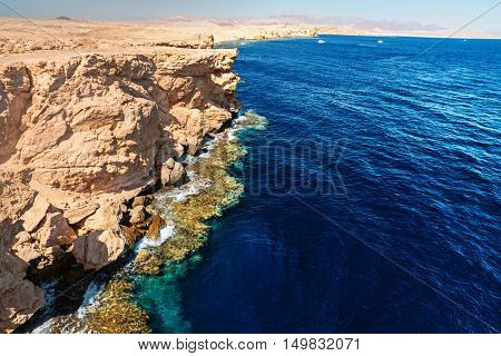 Red Sea coastline in the national park of Ras Muhammad, Egypt