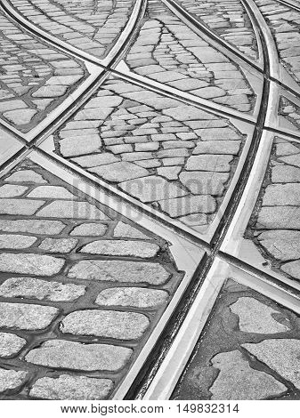 Close up image of tramway lines in Helsinki