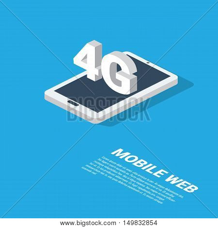 4g mobile web technology presentation. Modern isometric smartphone design with space for text. Eps10 vector illustration.