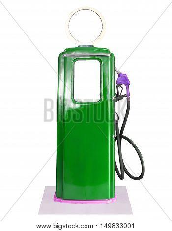 Vintage Green Fuel Pump On White Background