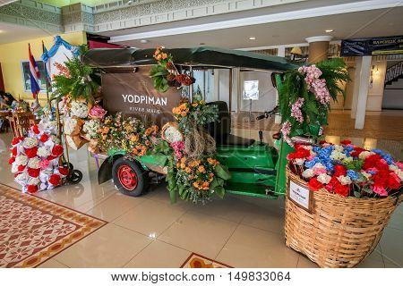 BANGKOK THAILAND - Sep 17 2016: Decoration of Tuk Tuk (Thai native taxi) at Yodpiman River walk in Bangkok Thailand