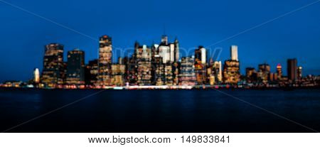 Early Morning Blurred New York City Skyline Panorama