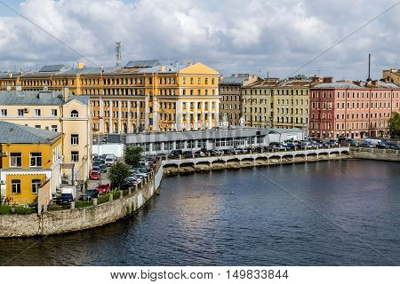 Saint-Petersburg.Russia.12 Sep 2016.View of the entrance of the plant Admiralty shipyards and the embankment of the Fontanka river in Saint Petersburg.
