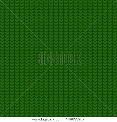 Seamless green knitting pattern. Woolen cloth knitted background. Sweater texture. Vector illustration.