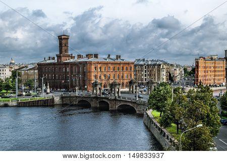 Saint-Petersburg.Russia.12 Sep 2016.View of the Staro Kalinkin bridge and the embankment of the Fontanka river in Saint Petersburg.