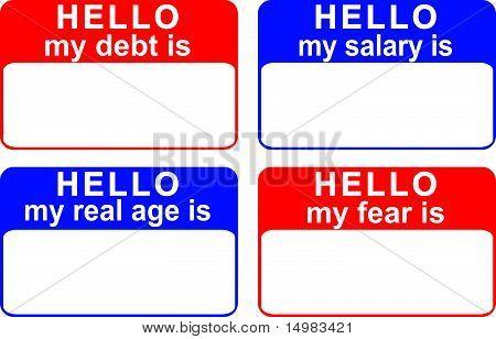 Namensschilder offenbart Schulden