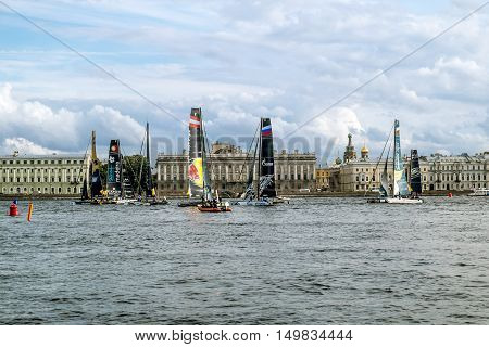 September 2 2016. Saint-Petersburg. Competition sailing Extreme Sailing Series in the Neva river in St. Petersburg.Russia