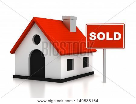 sold house  isolated on white background 3d illustration