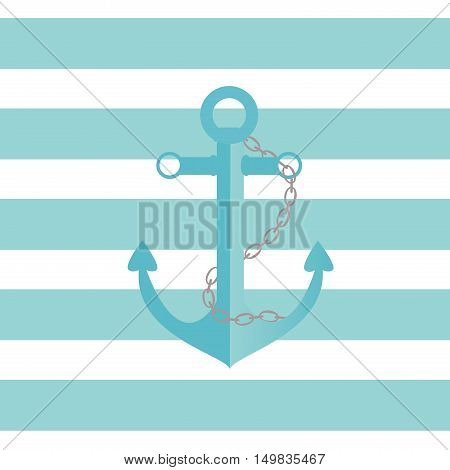 Illustration of a ship anchor and chain in an agua color with blue and white stripped background.