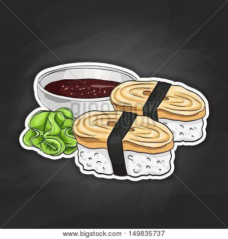 Vector color sticker, Tamago Nigiri Sushi on black background. Sushi symbol stock vector illustration.