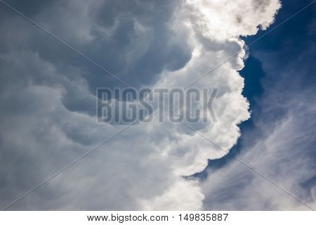 close up part of huge cloud before strom