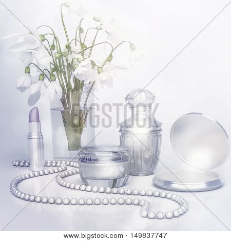 Snowdrops jar of moisturizing face cream lipstick string of pearls and perfume bottle. 3D illustration