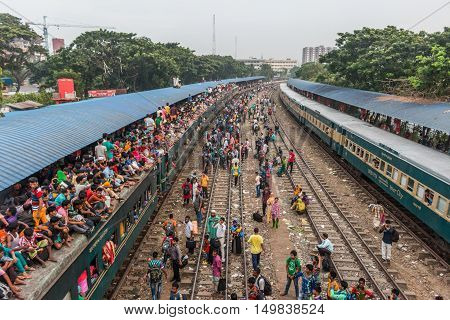 DHAKA BANGLADESH- SEPTEMBER 09 2016. Unidentified people going home by train