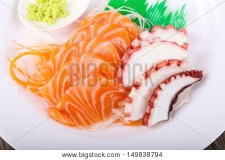Salmon And Octopus Sashimi