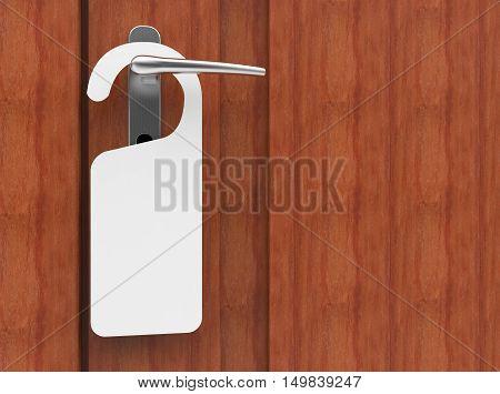 3D illustration of paper signboard hanging on a handle of brown door