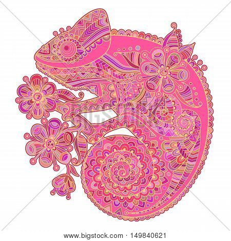 Vector illustration with a chameleon and beautiful patterns in shades of pink.