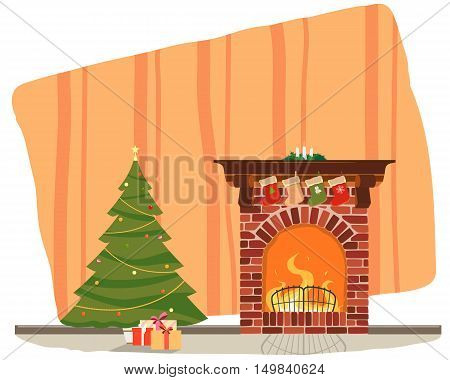 The room is a Christmas tree with gifts by the fireplace. Vector illustration