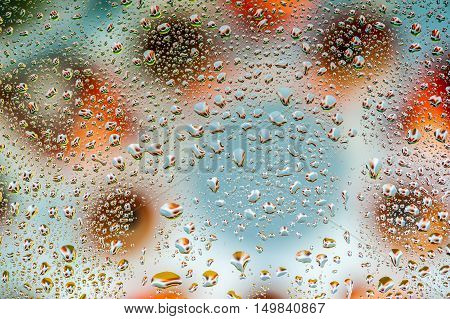 Abstract texture - Water drops on glass with grey background