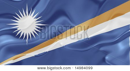 Flag of Marshall Islands, national country symbol illustration wavy fabric