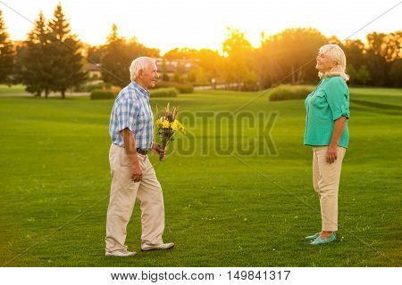 Senior man with a bouquet. Couple on a meadow. Let me congratulate you. Fifty years together.