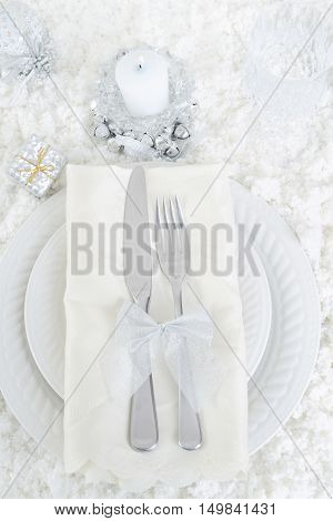 top view snow christmas table setting with snow