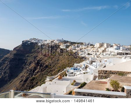 view of Santorini island in cyclades of Greece