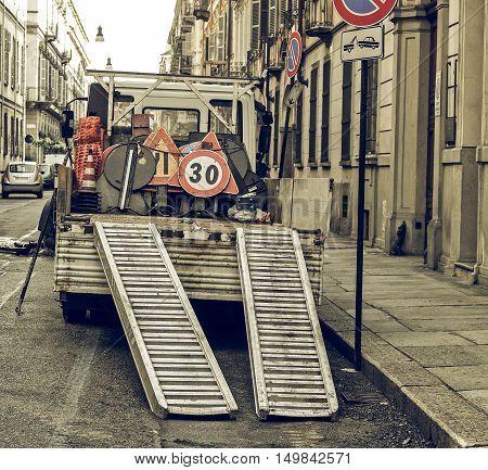Vintage Looking Roadworks Signs