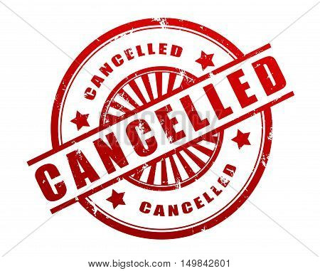 cancelled stamp 3d illustration isolated on white background