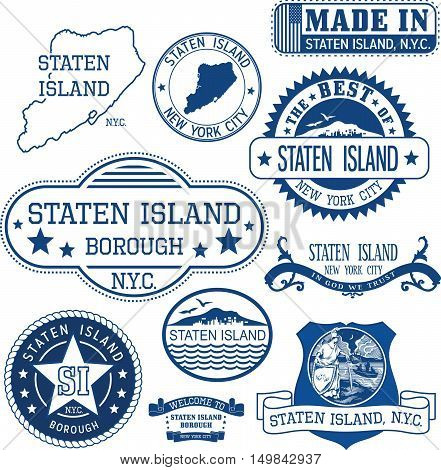Generic Stamps And Signs Of Staten Island Borough, Nyc
