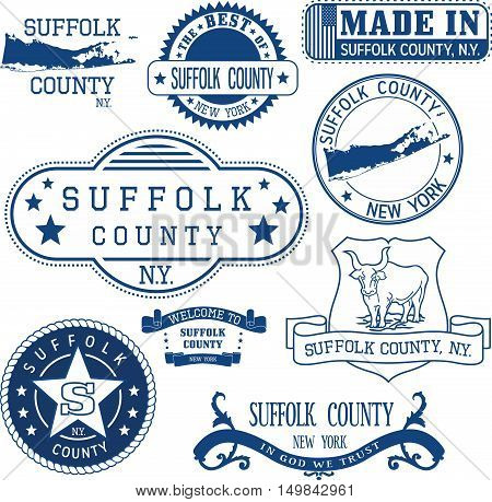 Generic Stamps And Signs Of Suffolk County, Ny