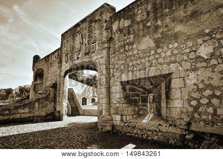 Door of Alcazar de Colon. Santo Domingo, Dominican Republic. Sepia version of the shot.