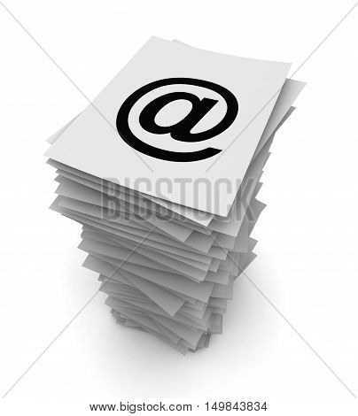 e mail stack 3d illustration isolated on white background