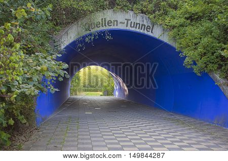 Blue Tunnel In A Public Park.