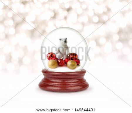 Christmas snow globe isolated on white. Can be used as a Christmas or a New Year gift or symbol.