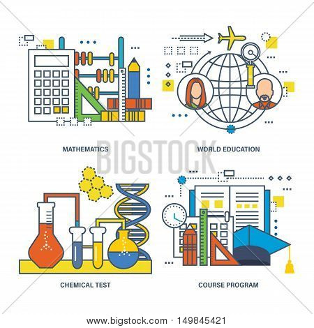 Concept of mathematics, world education, chemical test, course program. Vector illustration can be used in banners, brochures, commercial projects.